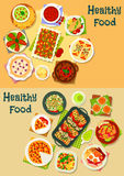 Healthy food icon set for cafe menu design Stock Photos