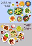 Healthy food icon set with meat, veggies and fruit. Healthy food icon set with vegetable and fruit salads with egg, duck and crab, baked meat and fruit with Stock Images