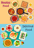 Healthy food icon set for restaurant menu design Stock Images