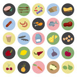 Healthy food icons. In circle vector illustration