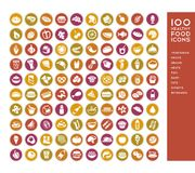 100 healthy food icons. For menus, infographics, design elements. Vector illustration Stock Images