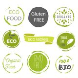 Healthy food icons, labels. Organic tags. Natural product elemen. Ts. Logo for vegetarian restaurant menu. Raster illustration. Low fat stamp. Eco product Royalty Free Stock Images