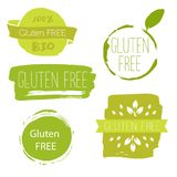 Healthy food icons, labels. Organic tags. Natural product elemen Stock Photo