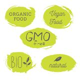 Healthy food icons, labels. Organic tags. Natural product elemen. Ts. Logo for vegetarian restaurant menu. Raster illustration. Low fat stamp. Eco product Royalty Free Stock Photo
