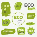 Healthy food icons, labels. Organic tags. Natural product elemen Royalty Free Stock Images