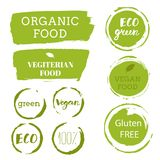 Healthy food icons, labels. Organic tags. Natural product elemen. Ts. Logo for vegetarian restaurant menu. Raster illustration. Low fat stamp. Eco product Stock Photos