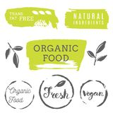 Healthy food icons, labels. Organic tags. Natural product elemen. Ts. Logo for vegetarian restaurant menu. Raster illustration. Low fat stamp. Eco product Stock Photo