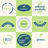 Healthy food icons, labels. Organic tags. Natural product elemen. Ts. Logo for vegetarian restaurant menu. Raster illustration. Low fat stamp. Eco product Royalty Free Stock Image