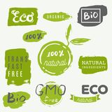 Healthy food icons, labels. Organic tags. Natural product elemen Stock Photos