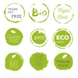 Healthy food icons, labels. Organic tags. Natural product elemen. Ts. Logo for vegetarian restaurant menu. Raster illustration. Low fat stamp. Eco product Royalty Free Stock Photos