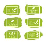 Healthy food icons, labels. Organic tags. Natural product elements. Logo for vegetarian restaurant menu. Raster illustration. Low. Fat stamp. Eco product stock illustration
