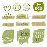 Healthy food icons, labels. Organic tags. Natural product elemen. Ts. Logo for vegetarian restaurant menu. Raster illustration. Low fat stamp. Eco product Stock Photography