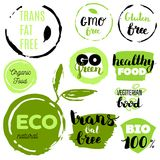 Healthy food icons, labels. Organic tags. Natural product elements. Logo for vegetarian restaurant menu. Raster illustration. Low fat stamp. Eco product stock illustration