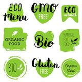 Healthy food icons, labels. Organic tags. Natural product elements. Logo for vegetarian restaurant menu. Raster illustration. Low fat stamp. Eco product vector illustration