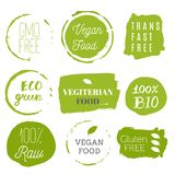 Healthy food icons, labels. Organic tags. Natural product elements. Logo for vegetarian restaurant menu. Raster illustration. Low. Fat stamp. Eco product royalty free illustration