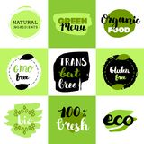 Healthy food icons, labels. Organic tags. Natural product elements. Logo for vegetarian restaurant menu. Raster illustration. Low fat stamp. Eco product royalty free illustration
