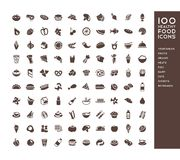 100 healthy food icons. For menus, infographics, design elements. Vector illustration Stock Photography
