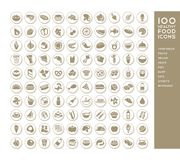 100 healthy food icons. For menus, infographics, design elements. Vector illustration Royalty Free Stock Images