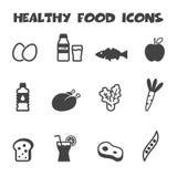 Healthy food icons. Mono vector symbols Stock Photos