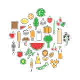 Healthy food icons set Royalty Free Stock Photos