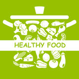 Healthy food. Food icons stuck in a pot Stock Photography