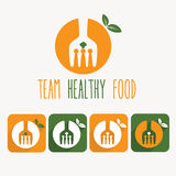 Healthy food illustration and web icons. Team healthy food illustration and web icons Royalty Free Stock Image