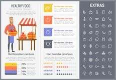 Healthy food infographic template, elements, icons. Healthy food infographic template, elements and icons. Infograph includes customizable graphs, charts, line Royalty Free Stock Photography