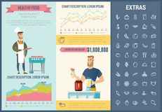 Healthy food infographic template, elements, icons. Healthy food infographic template, elements and icons. Infograph includes customizable graphs, charts, line Stock Images