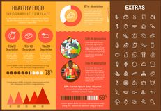 Healthy food infographic template, elements, icons. Healthy food infographic template, elements and icons. Infograph includes customizable graphs, charts, line Stock Photography
