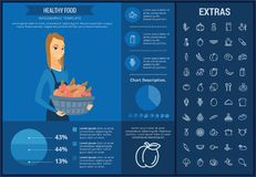 Healthy food infographic template, elements, icons. Healthy food infographic template, elements and icons. Infograph includes customizable graphs, charts, line Royalty Free Stock Image