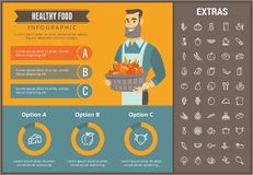 Healthy food infographic template, elements, icons. Healthy food infographic template, elements and icons. Infograph includes customizable graphs, charts, line Royalty Free Stock Photos