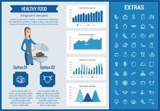 Healthy food infographic template, elements, icons. Healthy food infographic template, elements and icons. Infograph includes customizable graphs, charts, line Royalty Free Stock Photo