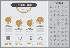 Healthy food infographic template, elements, icons. Healthy food infographic template, elements and icons. Infograph includes numbered customizable charts, line Royalty Free Stock Image