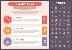 Healthy food infographic template, elements, icons Stock Photos