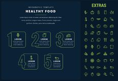 Healthy food infographic template, elements, icons Royalty Free Stock Image