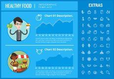 Healthy food infographic template, elements, icons. Healthy food infographic template, elements and icons. Infograph includes customizable graphs, charts, line Stock Image