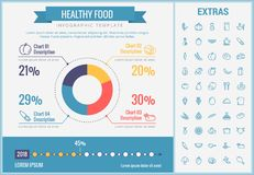 Healthy food infographic template, elements, icons. Healthy food infographic template, elements and icons. Infograph includes customizable pie chart, graph, line Stock Image