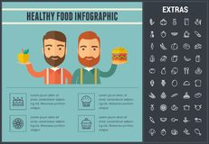 Healthy food infographic template, elements, icons. Healthy food infographic template, elements and icons. Infograph includes line icon set with food plate Royalty Free Stock Photos
