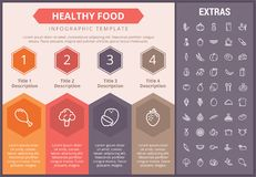 Healthy food infographic template, elements, icons. Healthy food infographic timeline template, elements and icons. Infograph includes numbered options, line Stock Photo