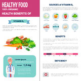 Healthy Food Infographics Products With Vitamins, Health Nutrition Lifestyle Concept. Flat Vector Illustration Royalty Free Stock Images