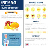 Healthy Food Infographics Products With Vitamins, Health Nutrition Lifestyle Concept. Flat Vector Illustration Stock Photography