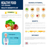 Healthy Food Infographics Products With Vitamins, Health Nutrition Lifestyle Concept. Flat Vector Illustration Stock Images