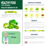 Healthy Food Infographics Products With Vitamins, Health Nutrition Lifestyle Concept. Flat Vector Illustration Royalty Free Stock Photos
