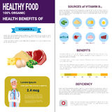 Healthy Food Infographics Products With Vitamins, Health Nutrition Lifestyle Concept. Flat Vector Illustration Stock Image
