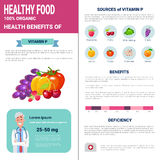 Healthy Food Infographics Products With Vitamins, Health Nutrition Lifestyle Concept. Flat Vector Illustration Royalty Free Stock Photo