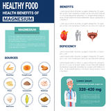 Healthy Food Infographics Products With Vitamins And Minerals, Health Nutrition Lifestyle Concept. Flat Vector Illustration Royalty Free Stock Images