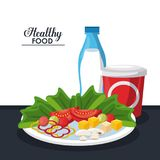 Healthy food information. Salad healthy food with information vector illustration graphic design Royalty Free Stock Image