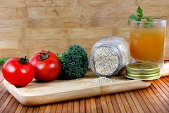 Healthy food ingredients. Beautiful shot of healthy food ingredients on wooden background Royalty Free Stock Photo