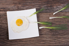 Healthy food and ingredients with fried egg Stock Photos
