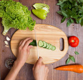 Healthy food and ingredients on rustic wooden background Royalty Free Stock Photography